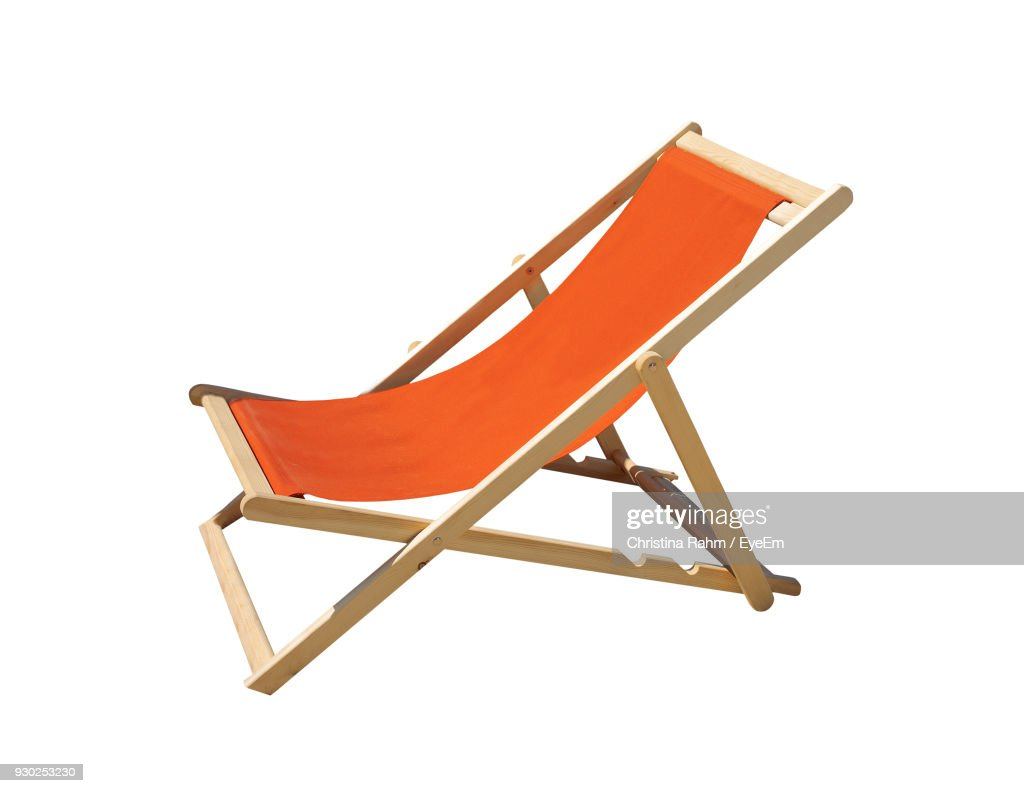 Deck Chair Against White Background : Stock Photo