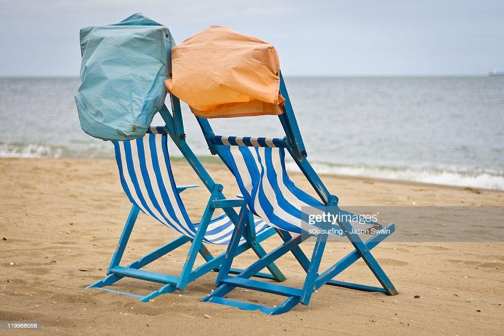 Deck chair at beach : Stock Photo
