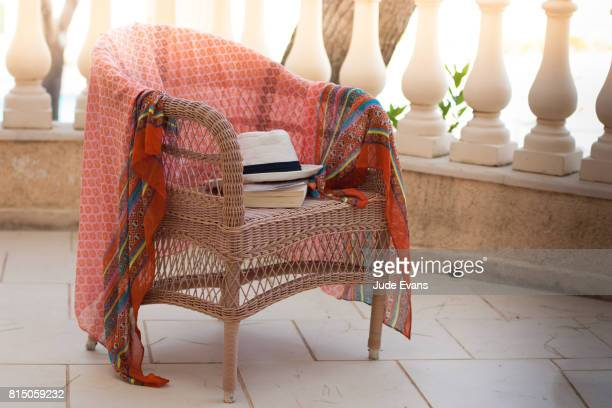 deck chair on balcony - wicker stock pictures, royalty-free photos & images