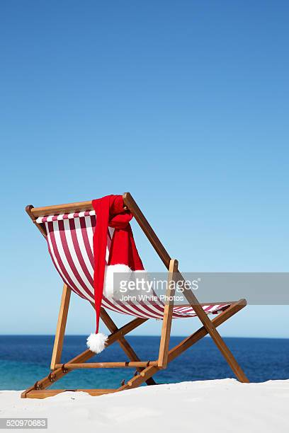 Deck Chair with Santa hat. Christmas. Australia.
