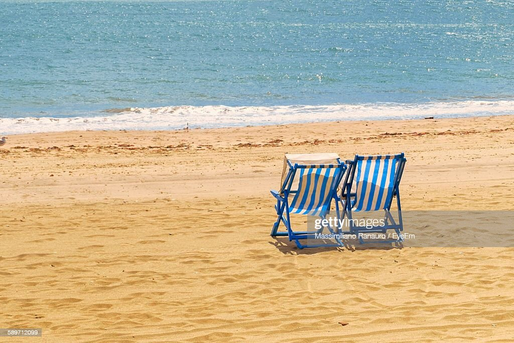 Deck Chairs At Beach : Stock Photo