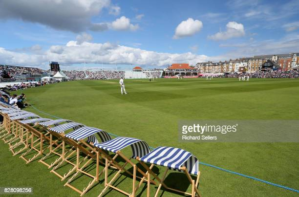 Deck Chairs in the breeze at North marine road cricket ground during the Specsavers County Championship Division One between Yorkshire and Essex at...