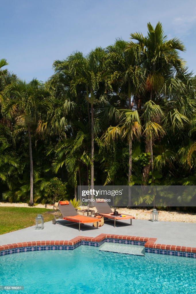 Deck chairs near swimming pool in backyard : Foto stock