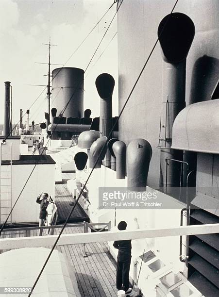 Deck constructions of an ocean steam ship in the thirties