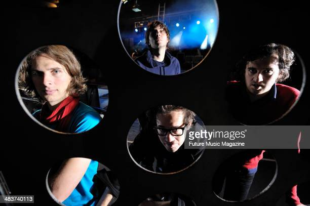 Deck D'Arcy Thomas Mars Laurent Brancowitz and Christian Mazzalai of French alternative rock group Phoenix photographed before a live performance at...