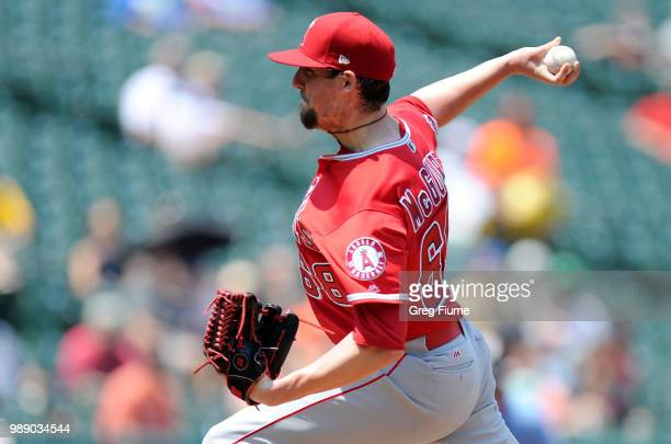 Deck McGuire of the Los Angeles Angels pitches in the third inning against the Baltimore Orioles at Oriole Park at Camden Yards on July 1 2018 in...