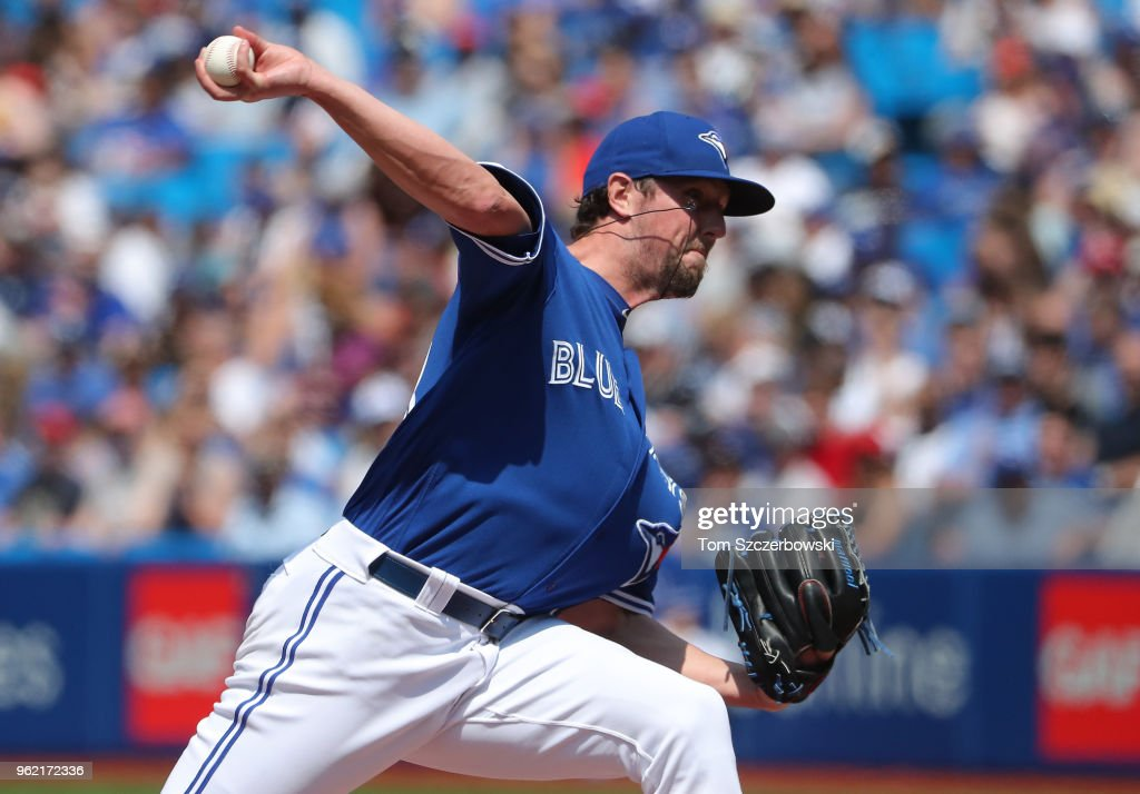 Deck McGuire #48 of the Toronto Blue Jays delivers a pitch in the eighth inning during MLB game action against the Los Angeles Angels of Anaheim at Rogers Centre on May 24, 2018 in Toronto, Canada.