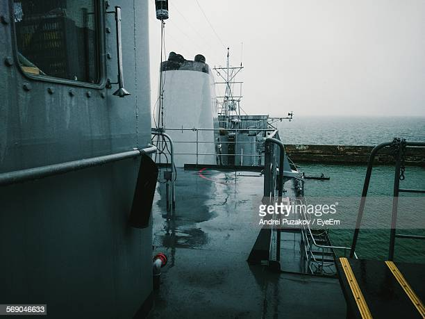 deck of eml admiral pitka against sky - military ship stock pictures, royalty-free photos & images