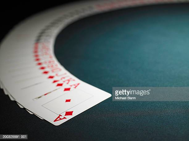 Deck of playing cards spread out in arc
