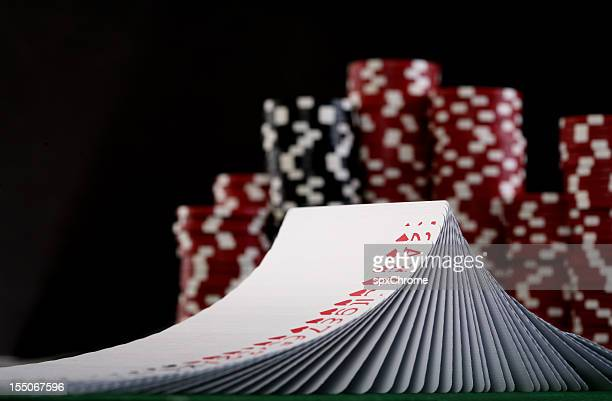 deck of poker cards - shuffling stock photos and pictures