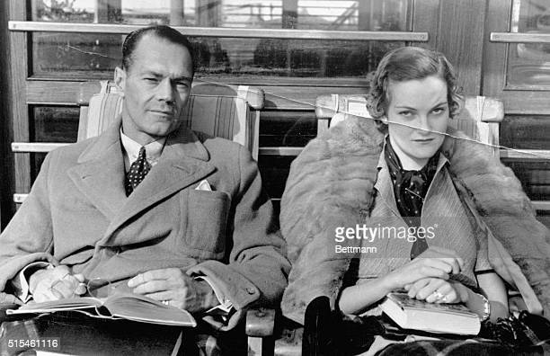 A deck photograph of Mr and Mrs James Cromwell of New York made during their honeymoon journey to Europe on the S S Conte Di Savoia is shown Mrs...
