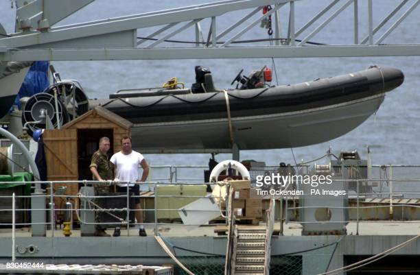 Deck scenes on the Royal Fleet Auxiliary Sir Percivale in the port of Freetown Sierra Leone where all the British hostages and a Sierra Leone...