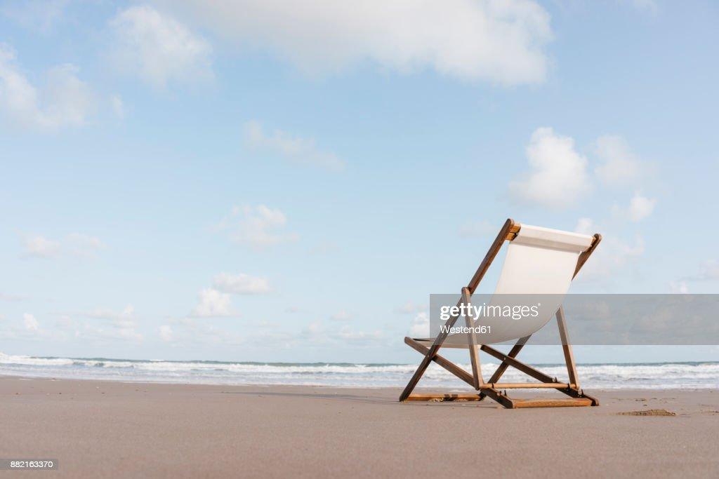 Deckchair on the beach : Stock Photo