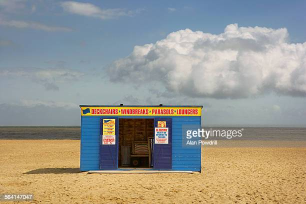 deckchair shack on beach - western script stock pictures, royalty-free photos & images