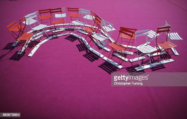Deckchairs await the arrival of celebrities and movie fans as the finishing touches to the 70th annual Cannes Film Festival are applied on May 16...