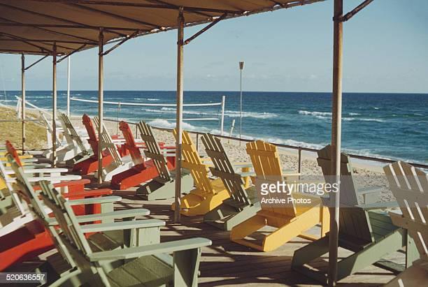 Deckchairs on Delray Beach Florida USA 1958