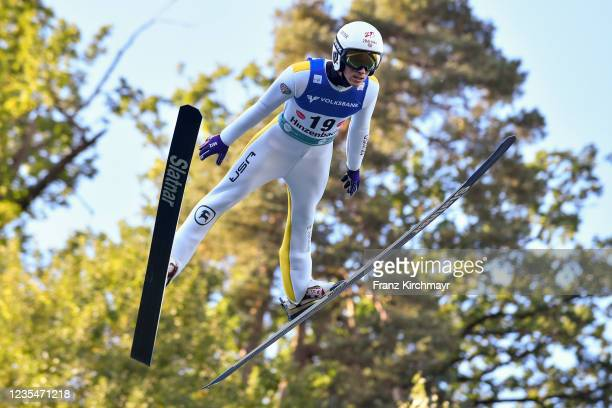 Decker Dean of the United States competes during the FIS Grand Prix Skijumping Hinzenbach at on February 6, 2021 in Eferding, Austria.