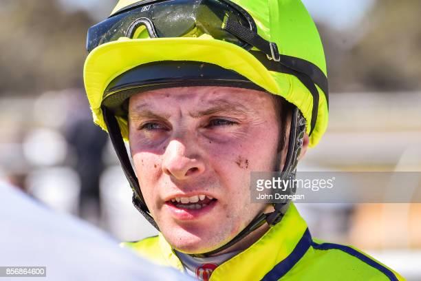 Declan Bates after winning the Euston Club Resort Maiden Plate at Mildura Racecourse on October 03 2017 in Mildura Australia
