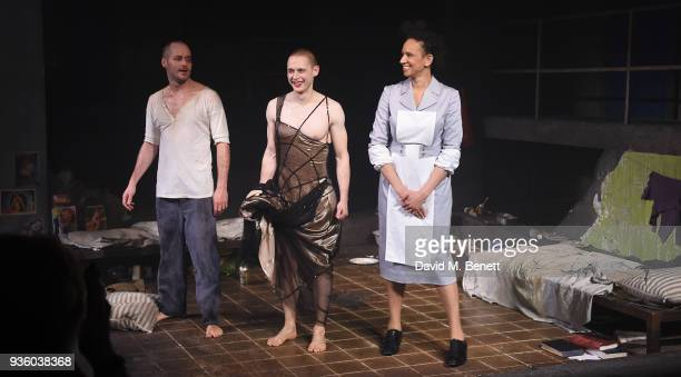 Declan Bennett Samuel Barnett and Grace CookeyGam take the curtain call at the press night performance of Kiss Of The Spider Woman at The Menier...