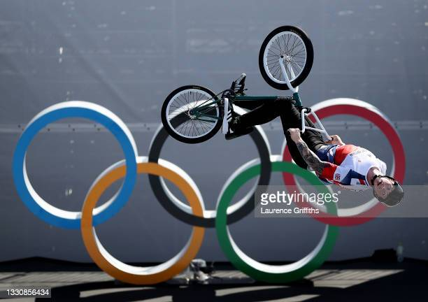 Declan Brookes of Team Great Britain BMX Freestyle in action during a training session at Ariake Urban Sports Park ahead of the Tokyo Olympic Games...