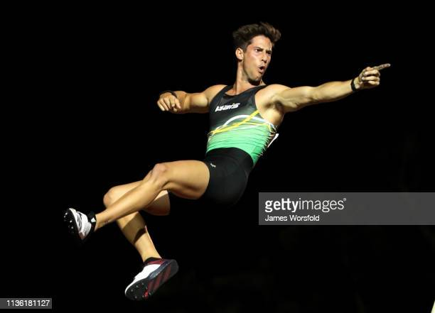 Declan Carruthers celebrates after clearing his jump during the Mens Pole Vault on March 16, 2019 in Perth, Australia.