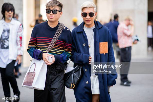 Declan Chan and Bryan Boy seen outside Lanvin on day six of Paris Fashion Week Menswear SS19 on June 24 2018 in Paris France