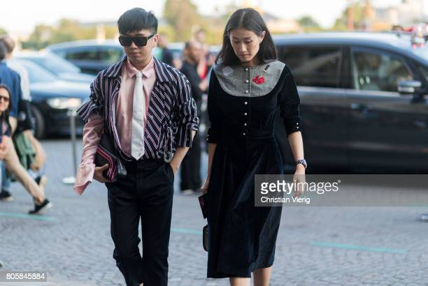 Declan Chan and Justine Lee outside Miu Miu Cruise Collection during Paris Fashion Week Haute Couture Fall/Winter 20172018 Day One on July 2 2017 in...