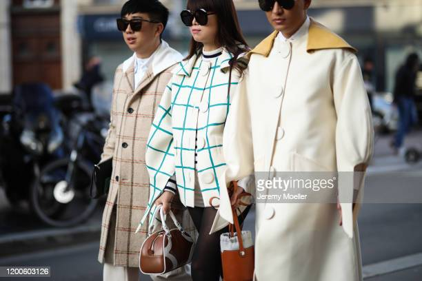 Declan Chan, Leaf Greener and Bryan Boy before Lanvin on January 19, 2020 in Paris, France.