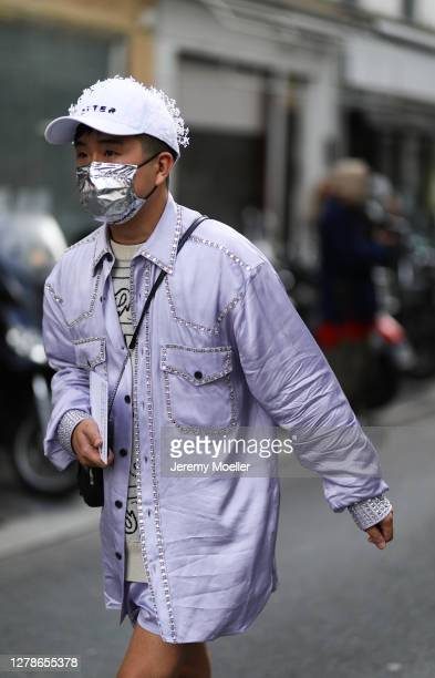 Declan Chan seen outside Paco Rabanne during Paris Fashion Week - Womenswear Spring Summer 2021 : Day Seven on October 04, 2020 in Paris, France.