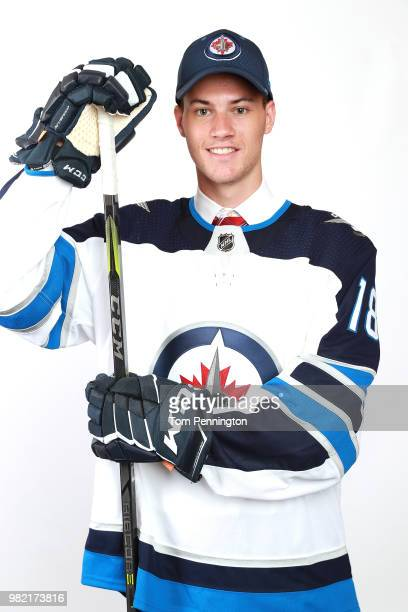 Declan Chisholm poses after being selected 150th overall by the Winnipeg Jets during the 2018 NHL Draft at American Airlines Center on June 23 2018...