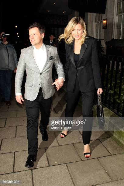 Declan Donnelly and Ali Astall at 34 restaurant for Richard Holloway's going away party on January 25 2018 in London England
