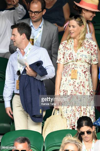 Declan Donnelly and Ali Astall attend day seven of the Wimbledon Tennis Championships at the All England Lawn Tennis and Croquet Club on July 9 2018...
