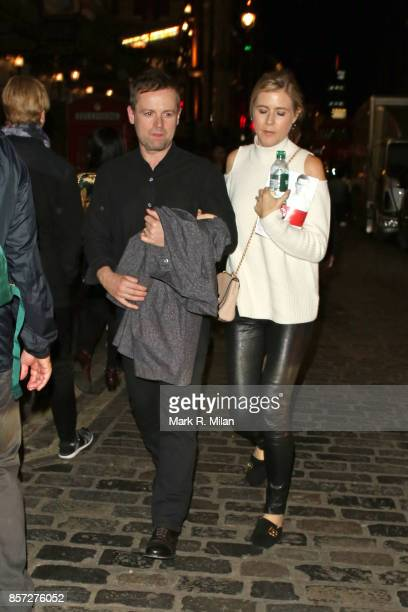 Declan Donnelly and Ali Astall leaving the Apollo theatre after watching Cat on a Hot Tin Roof on October 3 2017 in London England