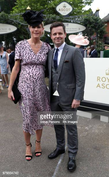 Declan Donnelly and Ali Astall pose for photographers on day two of Royal Ascot at Ascot Racecourse