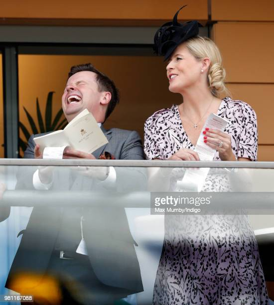 Declan Donnelly and Ali Astall watch the racing on day 2 of Royal Ascot at Ascot Racecourse on June 20, 2018 in Ascot, England.