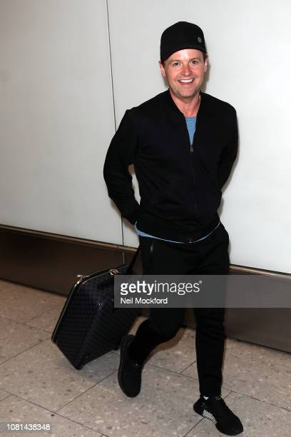 Declan Donnelly and wife Ali Astall arrive at Heathrow Airport after returning from 'I'm a Celeb Get me out of here' on December 12 2018 in London...