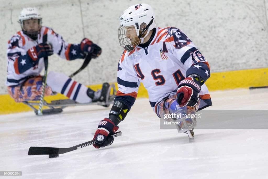 Declan Farmer (USA) during International Para Ice Hockey Tournament of Torino Semifinal match between USA and Japan in Turin, italy, on 26 Januray 2018. Usa team won 9 - 0. This is the last tournament before the Paralympic Games of Pyeongchang 2018 in Korea.