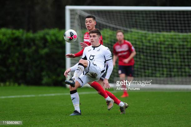 Declan John of Swansea City u23 in action during the Premier League 2 Division Two match between Swansea City u23s and Middlesbrough u23s at Swansea...