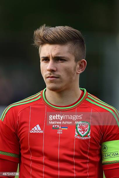 Declan John of Wales U21 during the UEFA U21 Championship Qualifier between Wales and Armenia at Nantporth on November 13 2015 in Bangor Wales
