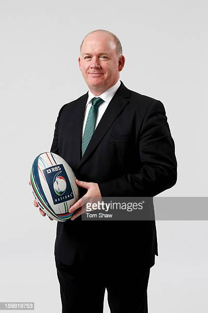 Declan Kidney the Ireland head coach poses uring the RBS Six Nations launch at The Hurlingham Club on January 23 2013 in London England