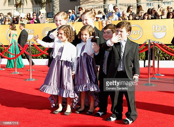 Declan McTigue Lucy Gallina Josie Gallina Rory McTigue Brady Noon and Connor Noon arrive at the 18th Annual Screen Actors Guild Awards held at The...