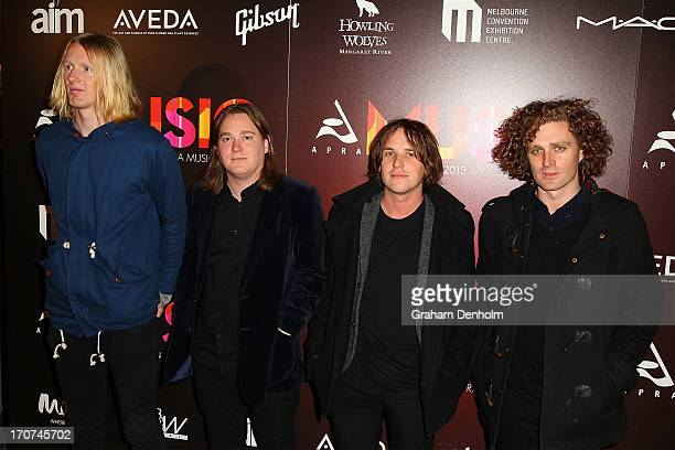 Declan Melia Nic Wilson Will Drummond and Matt O'Gorman from the band British India arrive at the 2013 APRA Music Awards at The Plenary on June 17...