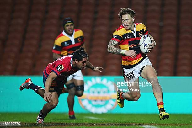 Declan ODonnell of Waikato makes a break during the round one ITM Cup match between Waikato and Tasman at Waikato Stadium on August 14 2015 in...
