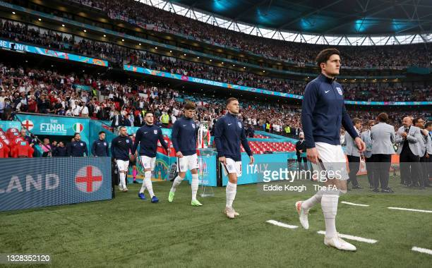 Declan Rice, John Stones, Kieran Trippier and Harry Maguire of England make their way towards the pitch prior to the UEFA Euro 2020 Championship...
