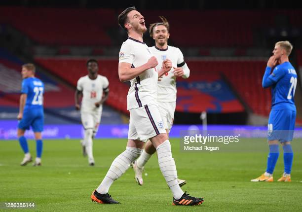 Declan Rice of England celebrates after scoring their team's first goal during the UEFA Nations League group stage match between England and Iceland...