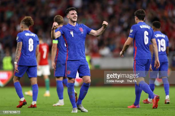 Declan Rice of England celebrates after scoring their team's fourth goal during the 2022 FIFA World Cup Qualifier match between Hungary and England...