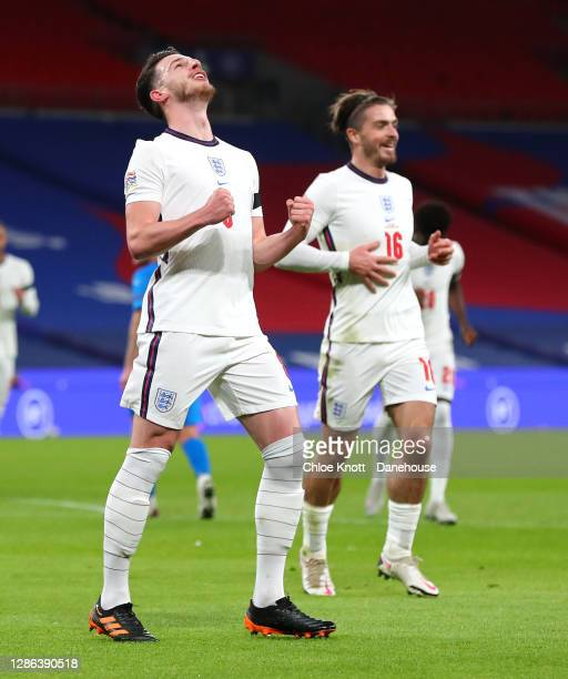 Declan Rice of England celebrates scoring his teams first goal during the UEFA Nations League group stage match between England and Iceland at...