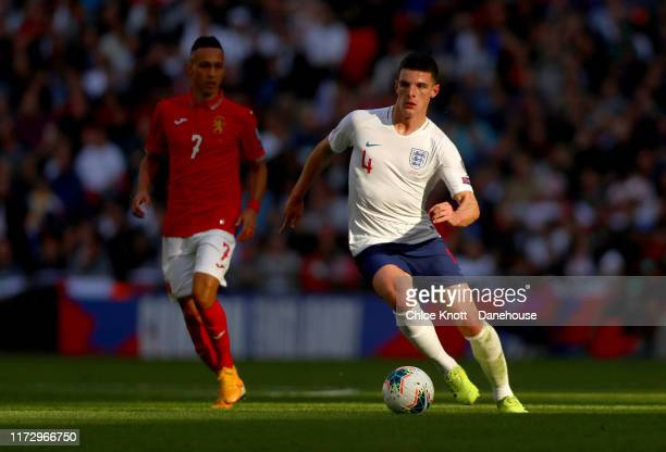 Declan Rice of England controls the ball during the UEFA Euro 2020 qualifier match between England and Bulgaria at Wembley Stadium on September 07,...