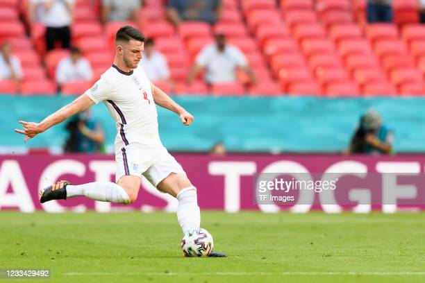 Declan Rice of England controls the ball during the UEFA Euro 2020 Championship Group D match between England and Croatia at Wembley Stadium on June...