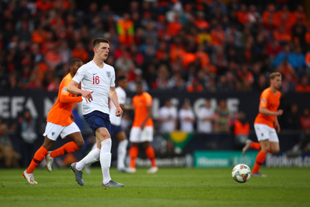 Declan Rice of England during the UEFA Nations League Semi-Final match between the Netherlands and England at Estadio D. Afonso Henriques on June 6,...